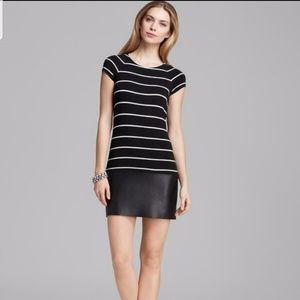 Anthropologie-Bailey 44 Stripe Faux Leather Dress
